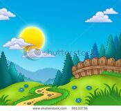 stock-photo-country-landscape-with-sun-color-illustration-59133736